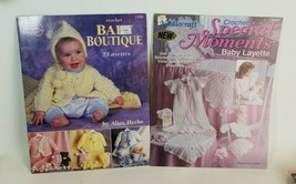 Lot of 2 Crochet Baby Layette Pattern Leaflet Books Gown Afghan Doll Etc... - $15.61