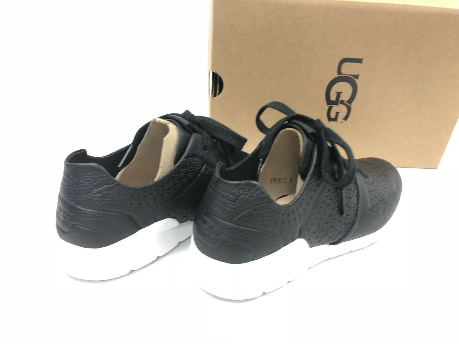 UGG Australia Tye Lace Up Leather Perforated Fashion Sneakers 1092577 Black
