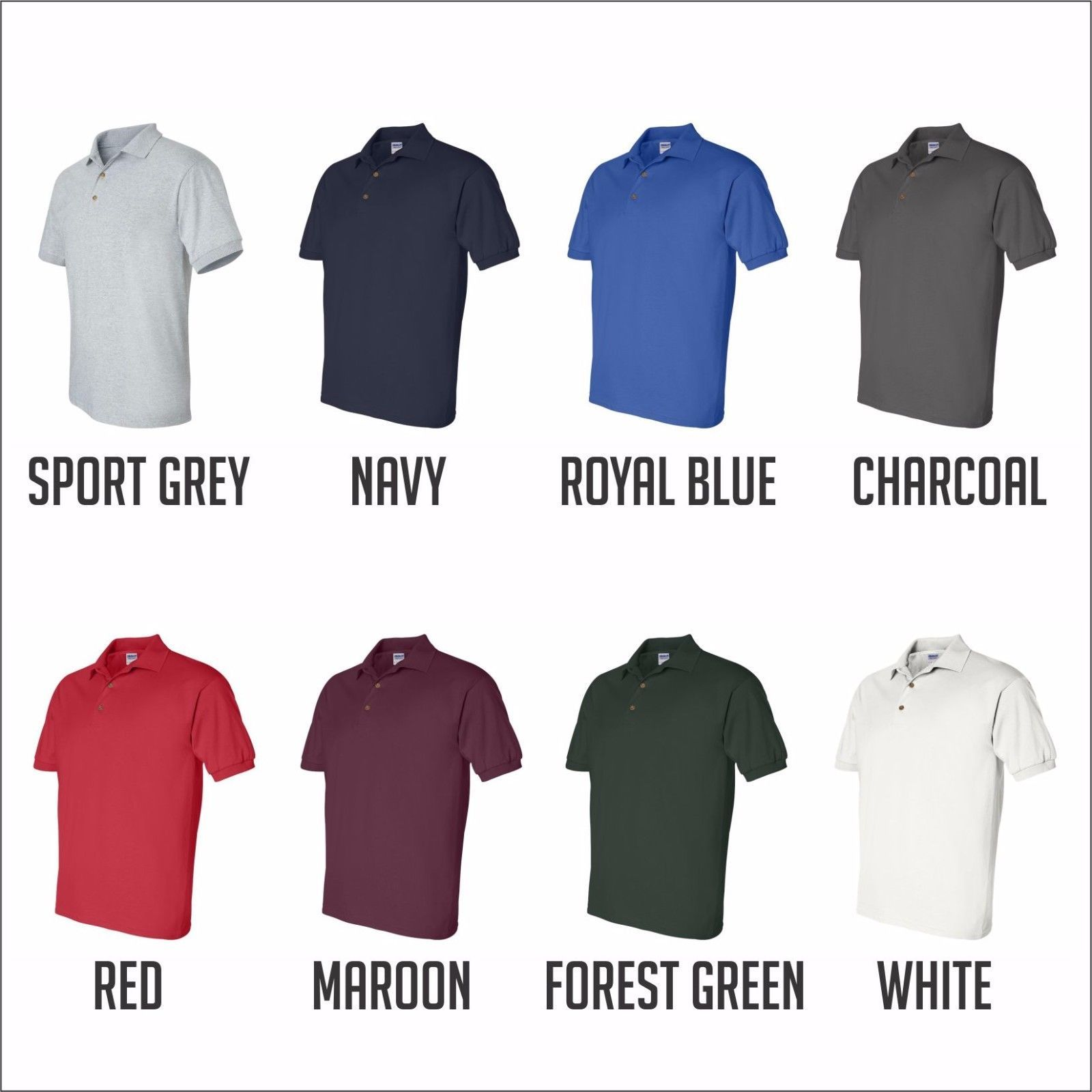 10 CUSTOM PERSONALIZED EMBROIDERED 100% Cotton Polo Shirt Business Uniform