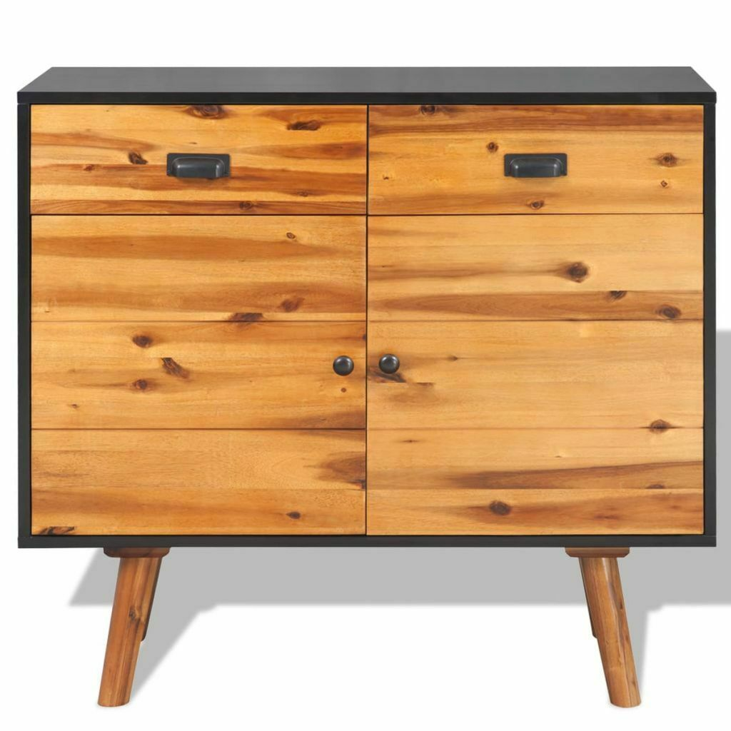 vidaXL Solid Acacia Wood 2 Door 2 Drawer Sideboard Side Cabinet Storage Chest image 2