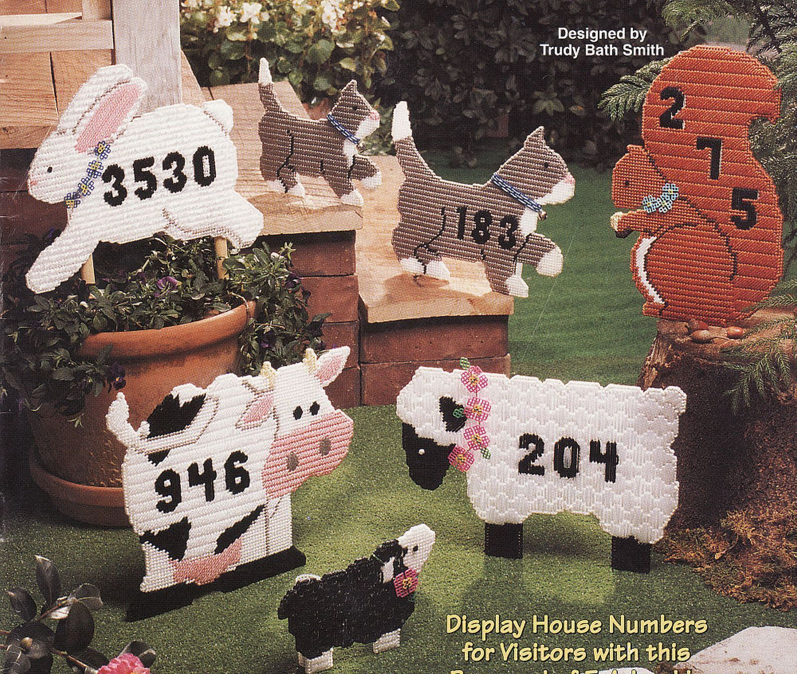 Primary image for Plastic Canvas Animal House Numbers Barnyard Cat Squirrel Cow Lamb Bunny Pattern