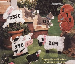 Plastic Canvas Animal House Numbers Barnyard Cat Squirrel Cow Lamb Bunny... - $12.99