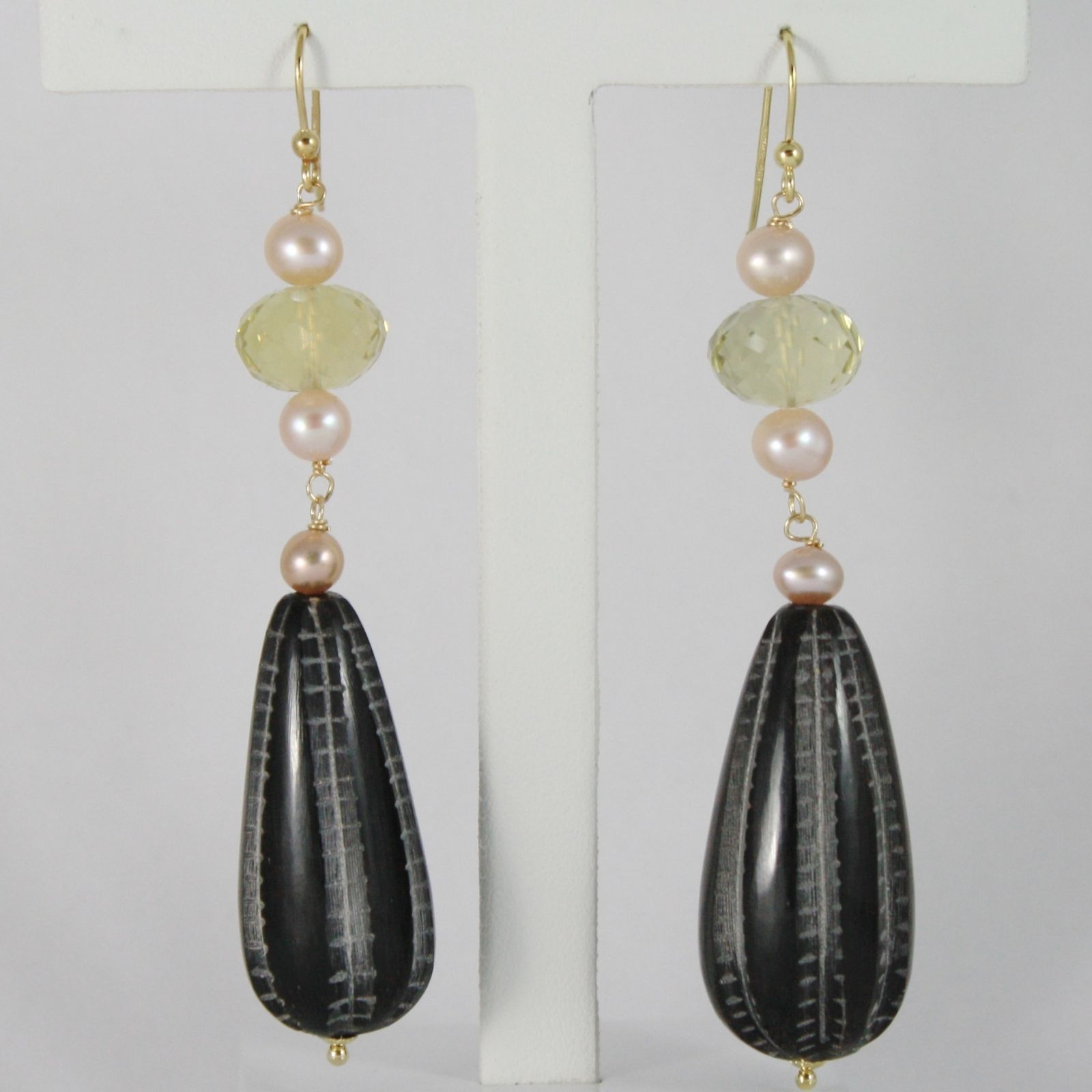 18K YELLOW GOLD PENDANT EARRINGS BIG WORKED DROP HORN, PEARLS AND LEMON QUARTZ