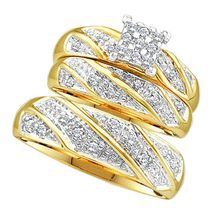 Solid 14K Yellow Gold Real Diamond His and Hers Trio Wedding Ring Sets 1... - $150.99