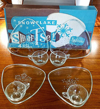 Vintage Indiana Glass Clear Snowflake Luncheon and Cup 8-piece Set - $22.50