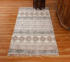 Bohemian Kilim Hand Block Printed Cotton Area Rugs Flatweave Dhurries 5x... - $29.98+