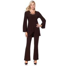 Slinky Embellished Bell-Slv Scoop Tunic Flare Pant Set Chocolate 2X NEW ... - $35.62