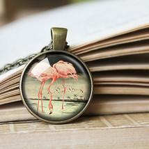 Pink Flamingos Necklace, Pink Flamingo Pendant, Vintage Flamingo Jewelry - $11.99