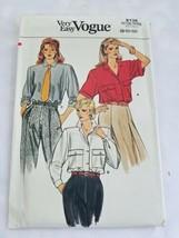 Vogue 9138 Blouse Shirt Shoulder Pads 80s Sewing Pattern Size 8 10 12 Uncut - $12.88