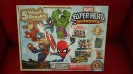 Marvel Superheros 5 Wood Puzzles Storage Box  Educational Learn Jigsaw P... - $11.65