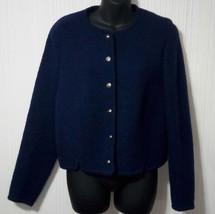 Talbots Women's Size 12 Dark Navy Blue Wool Short Jacket blazer coat - $23.21