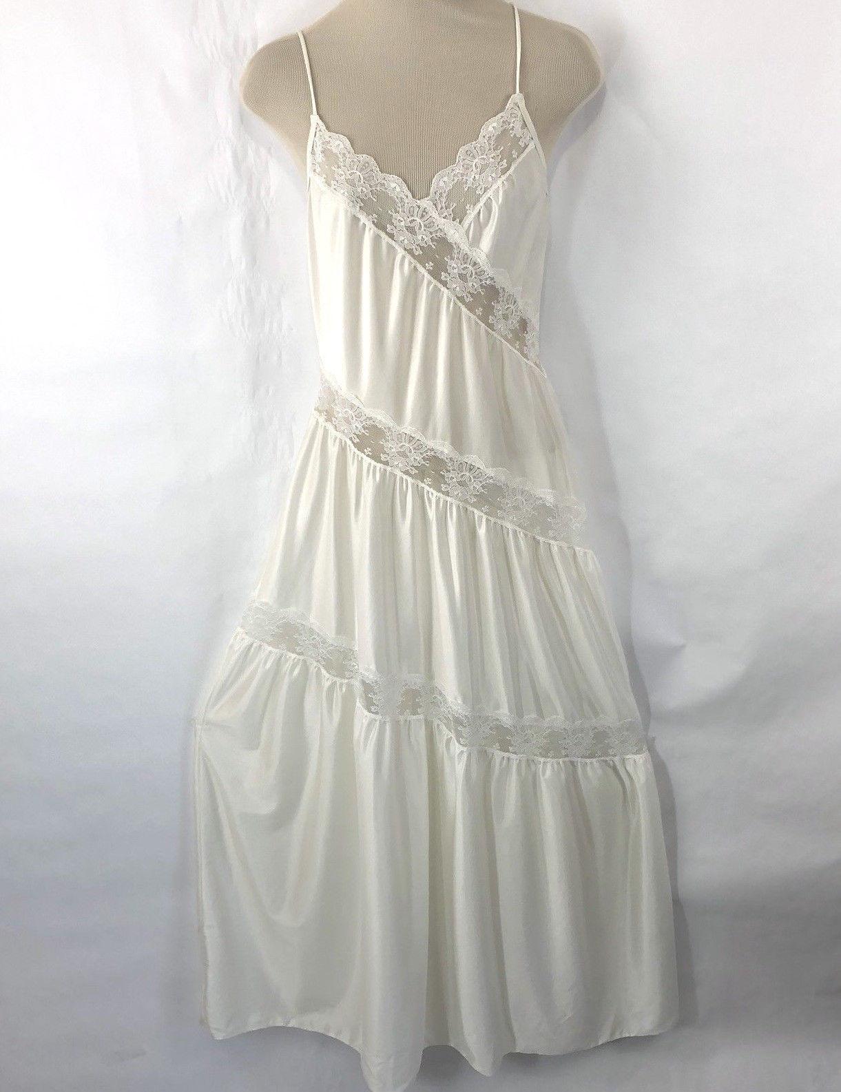 f2e5e37bf1 57. 57. Vtg Womens Nightgown Long Ivory Lace S Negligee Sheer Nylon  Asymmetrical  Vtg Womens Nightgown Long Ivory Lace ...