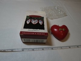 Red Heart of Hallmark Keepsake Ornament Christmas 1993 opens snow sled Church image 2