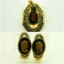 Pcraft Brown Glass Cameo Repousse Gold Tone Clip Earrings Pendant Set - $34.64