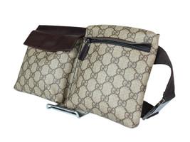 Authentic Gucci GG Pattern PVC Canvas Leather Browns Waist Belt Bag GW2029 - $398.00