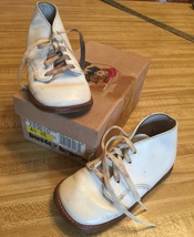VTG 80s BUSTER BROWN White Leather Baby Hard Sole Walking Shoes 289B10 s... - $14.80