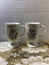 Vintage Napcoware Blue Butterfly Mugs Irish Coffee Cups - $16.00
