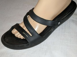 CROCS BLACK DOUBLE STRAP SANDALS / SLIDES Sz 11 VERY GOOD CONDITION - $24.74