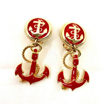 Vintage 1980's Gold Tone Red Enamel Dangle Anchor Clip On Earrings Very Nice - $16.79