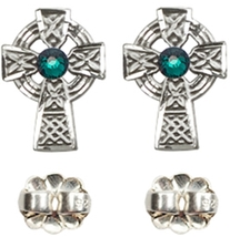 Earrings  Celtic Cross Emerald - Post - Sterling Silver