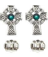 Earrings  Celtic Cross Emerald - Post - Sterling Silver - $73.99