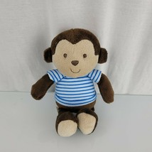 """Carters Child Of Mine Plush Brown Monkey Rattle Baby Lovey 8"""" Blue Strip... - $16.81"""
