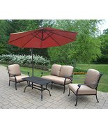 5-Piece Black and Aluminum Outdoor Patio Chat Set w/Red Cantilever Umbrella - $4,544.59