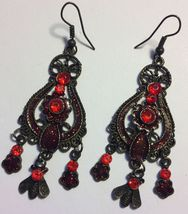VTG 90s Antique Look Red Glitter Resin/Rhinestone Pierced Dangle/Drop Ea... - $8.99