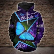 Butterfly Blue Phormo Unisex 3D Hoodie All Over Print, Men's and women H... - $49.90