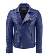 NEW Men Handcrafted Blue Best Pure Soft Lambskin Leather Jacket Biker Racer - $124.36+