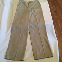 Size 12 Slim Chaps pants khaki uniform flat front adjustable waist boys - $8.50