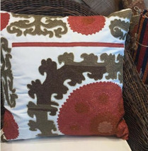 Pottery Barn Suzani Pillow Cover Red Multi 26 sq Embroidered Crewel Terr... - $36.86