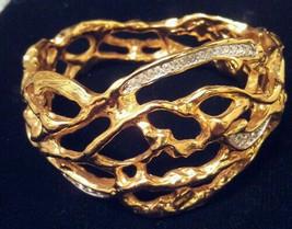 "FOR DIVA! NEW! ELIZABETH TAYLOR ""TREASURED VINE"" BOLD BRACELET GOLD & DI... - $93.14"