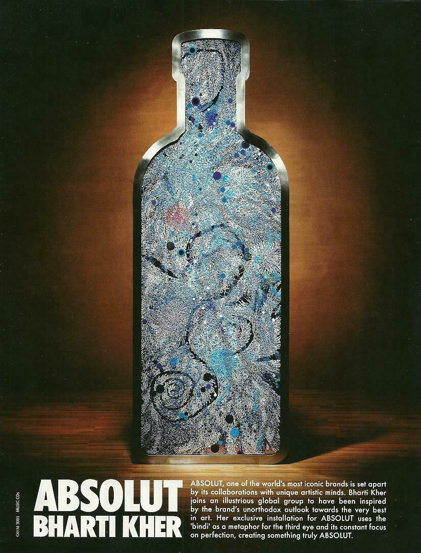 Primary image for ABSOLUT BHARTI KHER Vodka Magazine Ad From India RARE!