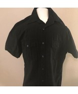 John Henry Modern Fit Black Cotton Shirt Size Small Short Sleeves Pocket... - $14.24