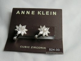 Anne Klein Silver Tone Cubic Zirconia Floral Earrings - New - $13.86