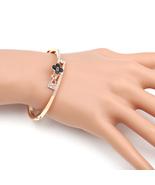 UE-Designer Bangle Bracelet With Jet Black Clover & Swarovski Style Crys... - $19.99