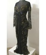 ISABELLE ALLARD Black Lace Gown Gold Floral Trim LS France Stunning 42 - $539.99