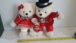 "VINTAGE 14"" DANDEE DUET SINGING PLUSH BEARS, ""HOW SWEET IT IS"", RED OUTF... - $19.79"