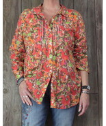 J Jill Uncommon Threads Blouse L size Orange Multi Color Lightweight Top... - $22.87
