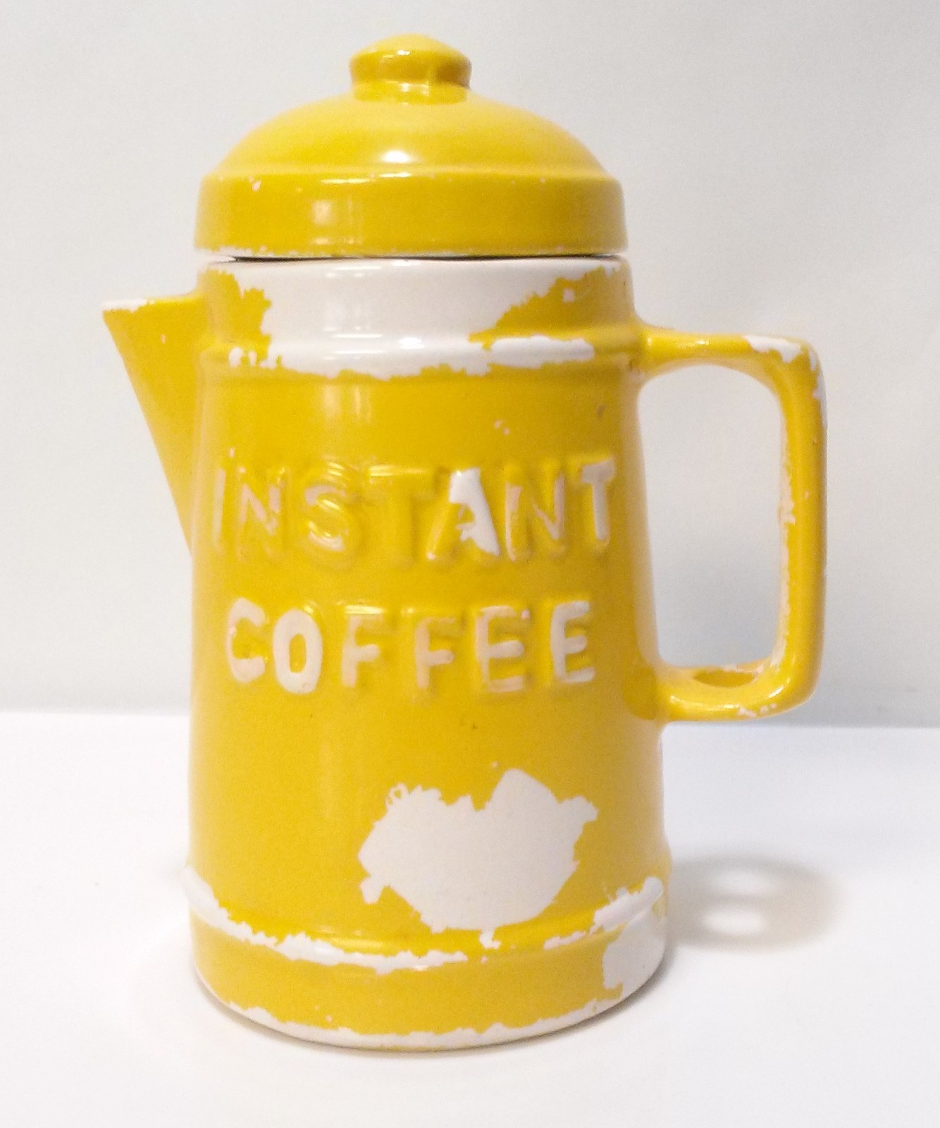 Primary image for Vintage Ceramic Coffee Pot Instant Coffee Canister Yellow Cold Paint