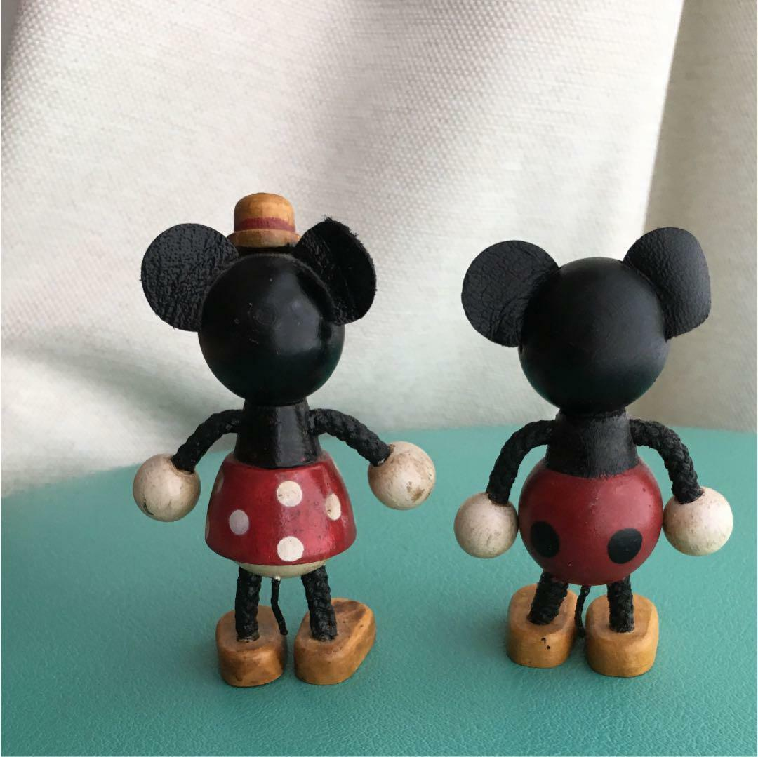 Minnie & Minnie Mouse Wooden Doll Figurine Disney Young Epoch Vintage Japan #2