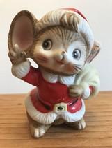 Homco Santa Mouse Vintage Porcelain Figurine With Santa Sack Christmas - $13.85