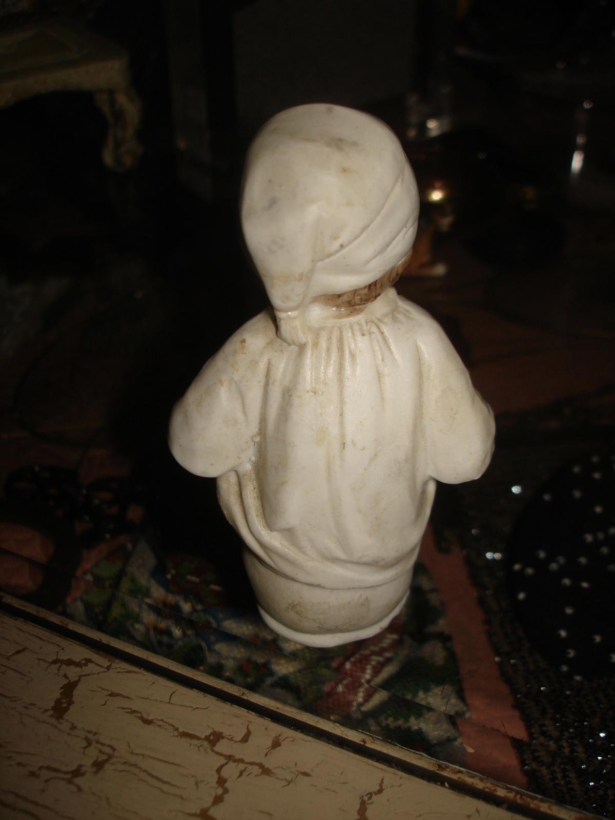 VTG VICTORIAN BISQUE BOY in NIGHT GOWN & CAP on POTTY CHAMBER POT FIGURINE