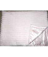 Walmart George Baby Blanket Solid Pink Texture Stripes Satin Back Furry ... - $25.62