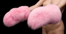 Genuine Saga Furs Flamingo Pink Arctic Shadow Fox Fur Handmade Mittens G... - $284.99