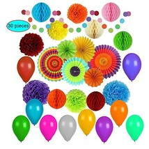 Party Decorations Colorful, Balloons, pom pom, rinbow and Paper Fans, Fi... - $678,16 MXN