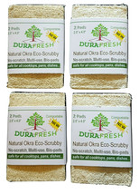 4 DuraFresh Natural Okra Eco-Scrubby 2 Packs Eco-Responsible Tough 8 Pad... - $21.00