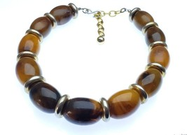 Vintage Plastic Chunky End of Day Root beer, Butterscotch Lucite Necklace - $45.00