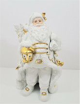 Traditions Porcelain Santa with Sleigh and Reindeer Gold Trimmed - $75.50